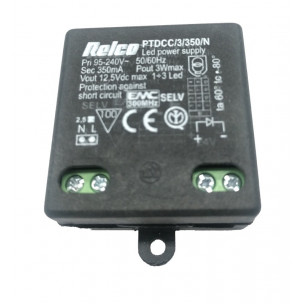 PTDCC/3/350/N Relco LED Driver 230-12Vdc 350mA 3W